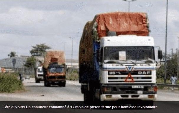 Côte d'IvoireUn chauffeur condamné à 12 mois de prison ferme pour homicide involontaire