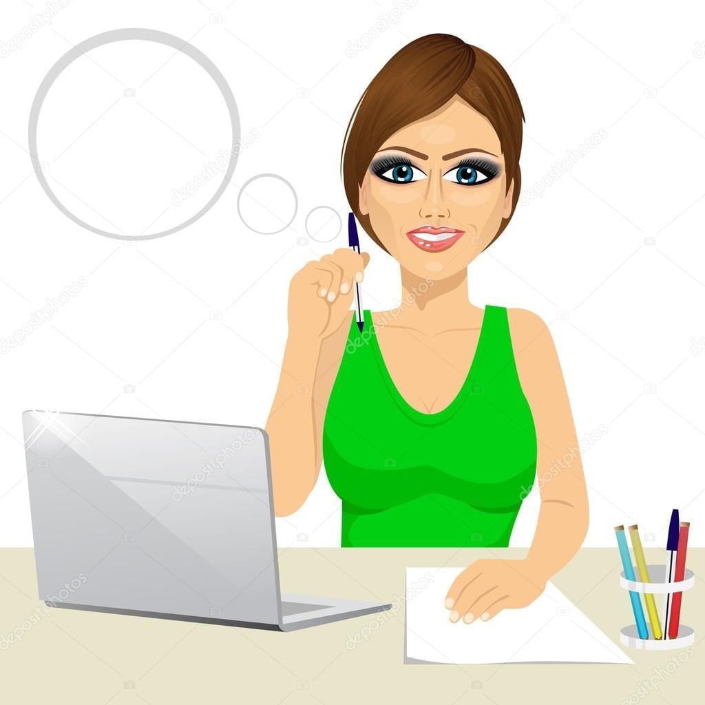Depositphotos 94018660 Stock Illustration Pensive Office Secretary Woman Working