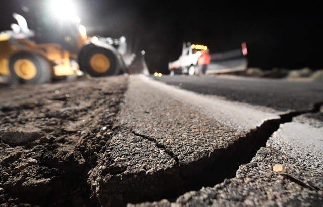 640x410 Highway Workers Repair A Hole That Opened In The Road As A Result Of The July 5 2019 Earthquake In