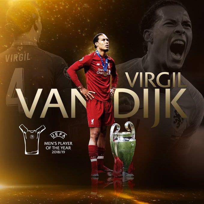 Le défenseur de Liverpool Virgil Van Dijk élu meilleur joueur UEFA de l'année 2018-2019