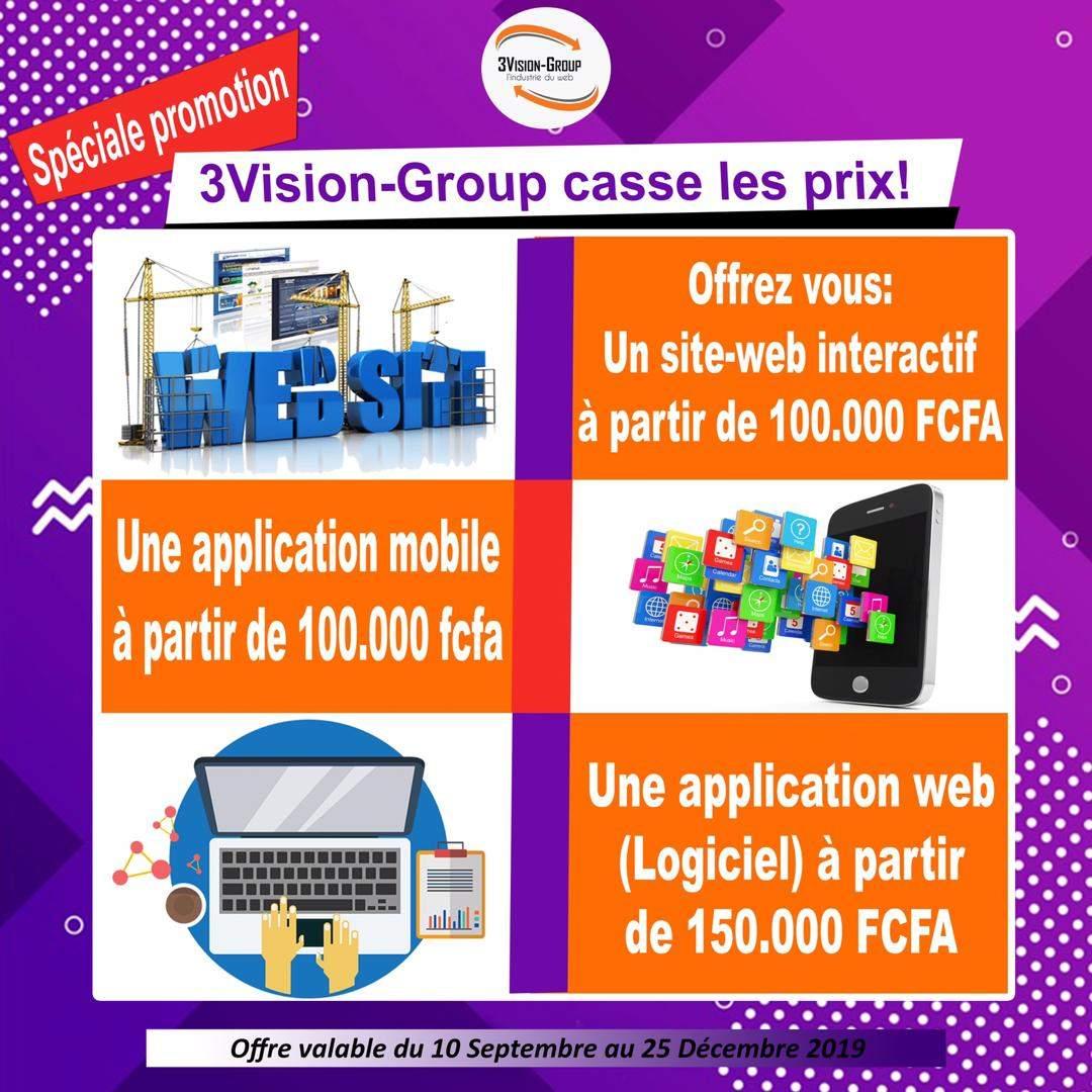 3Vision-Group en promo sur les réalisations de Site-web, applications mobile et web