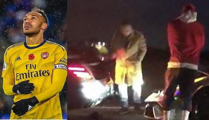 Aubameyang victime d'un accident au volant de sa Lamborghini