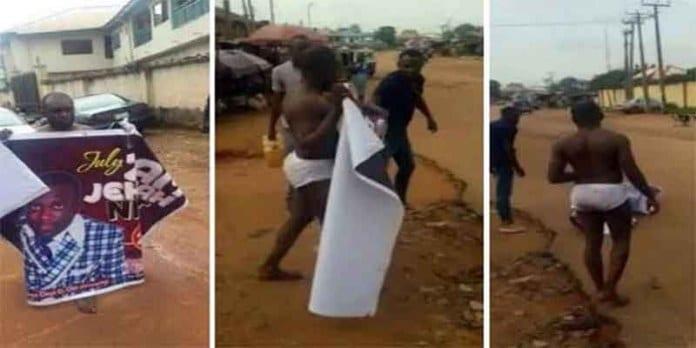 Pris en flagrant délit d'adultère, ce pasteur a été forcé de défiler à moitié nu avec une affiche