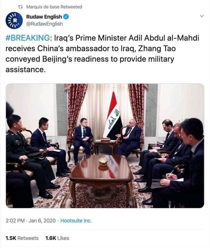 La Chine propose une aide militaire à l'Iraq