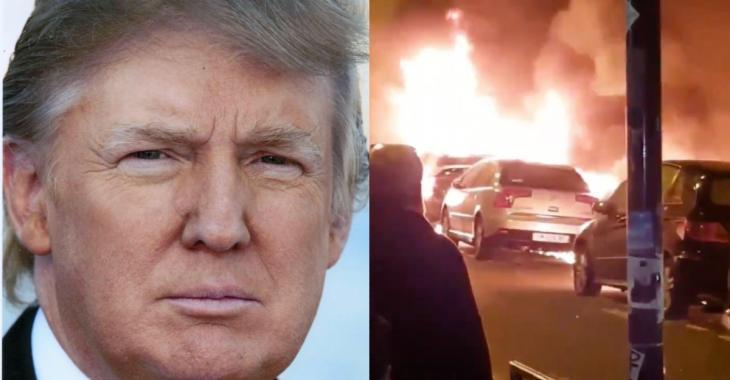 Donald Trump se moque d'une vidéo de voitures brûlées filmée au Nouvel An à Paris