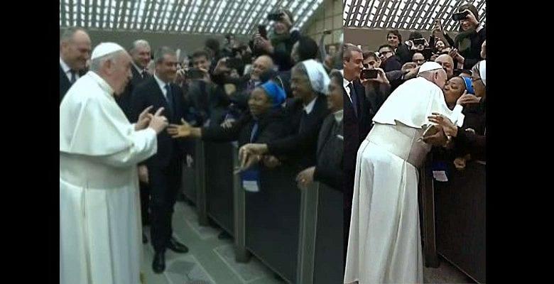 « Un baiser mais ne mordez par ! », la condition du Pape François pour embrasser une religieuse (vidéo)