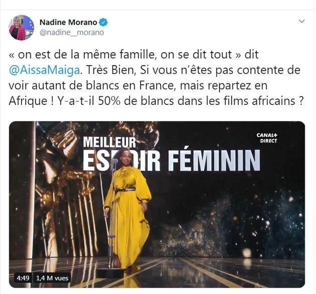 Après les César, Morano propose à Aïssa Maïga de «repartir en Afrique»