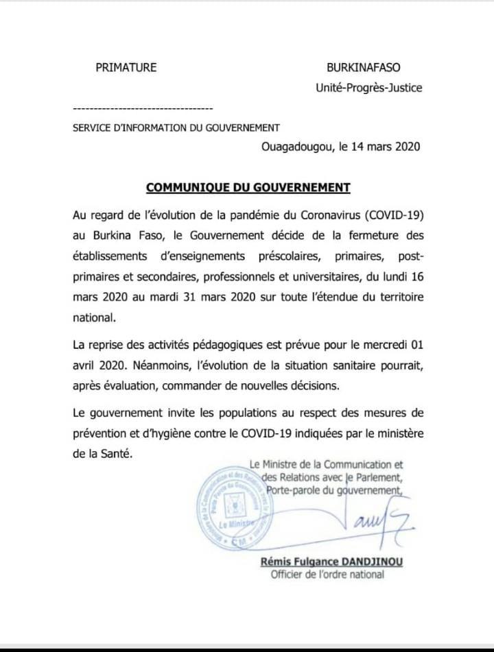 Burkina : De nouvelles décisions  prises par le gouvernement à cause du Coronavirus