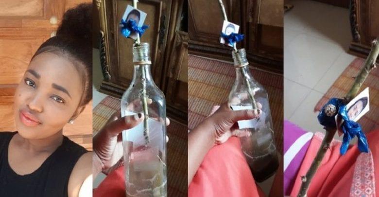 Elle trouve sa photo attachée à une bouteille de fétiche dans le placard de sa meilleure amie