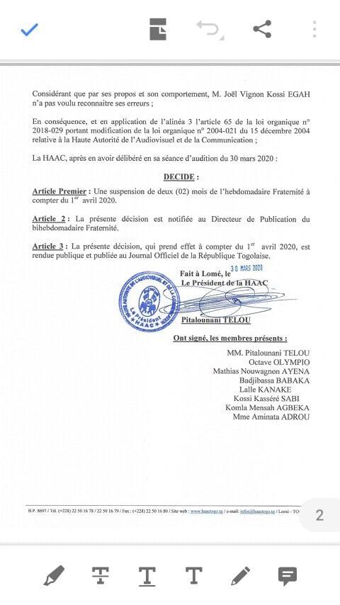 Togo/ la HAAC suspend le journal Fraternité