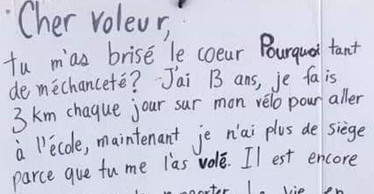 Un garçon de 13 ans se fait voler son siège de vélo et écrit un message au voleur