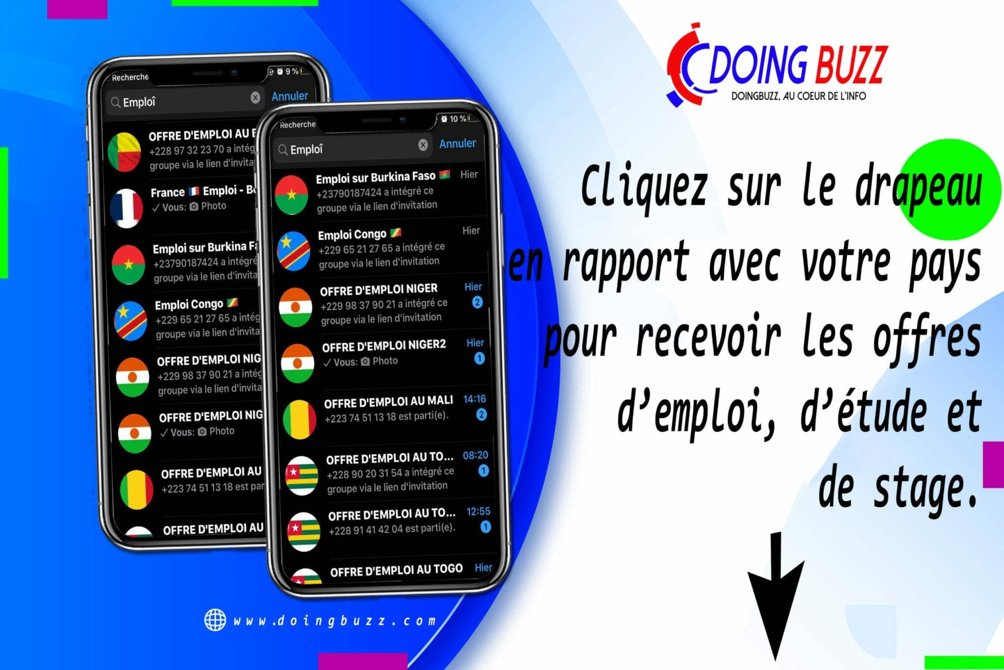 groupe emploi whatsapp doingbuzz