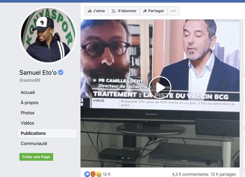 Coronavirus/Vaccin: Samuel Eto'o s'attaque violemment à l'idée d'un test en Afrique (Vidéo)