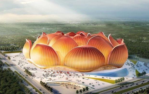 La Chine construit un stade en forme de fleur de lotus (Photos)