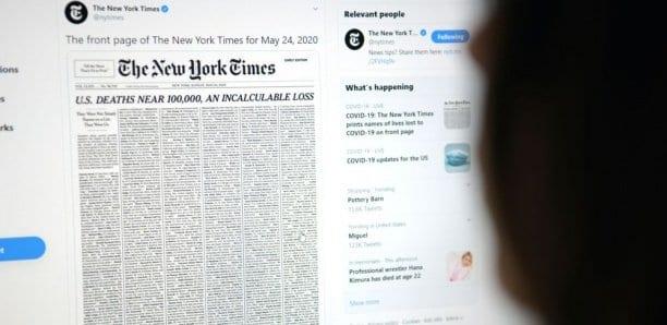 La Une du «New York Times» emplie de 1000 décès du coronavirus