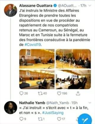 Nathalie Yamb corrige une grave faute de conjugaison D'Alassane Ouattara sur Twitter