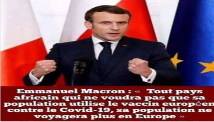 Emmanuel Macron a-t-il vraiment annoncé une obligation de vaccin pour les Africains?