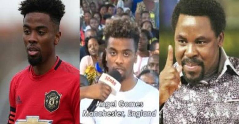Man United: Angel Gomes réagit à une vidéo virale de sa visite à l'église de TB Joshua
