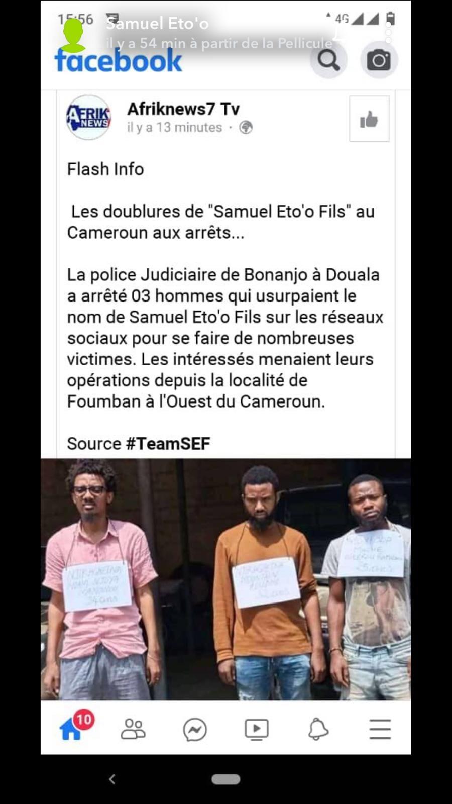 Samuel Eto'o fait arrêter trois individus qui utilisaient frauduleusement son nom au Cameroun