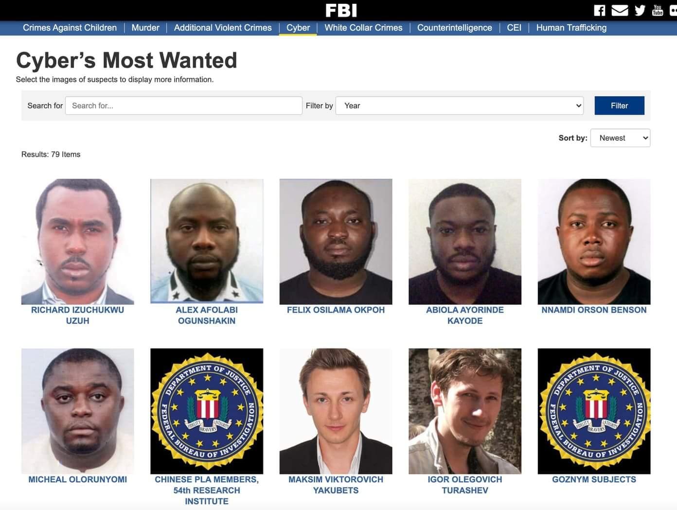 Après Hushpuppi, 6 autres cybercriminels nigérians sont recherchés activement par le FBI