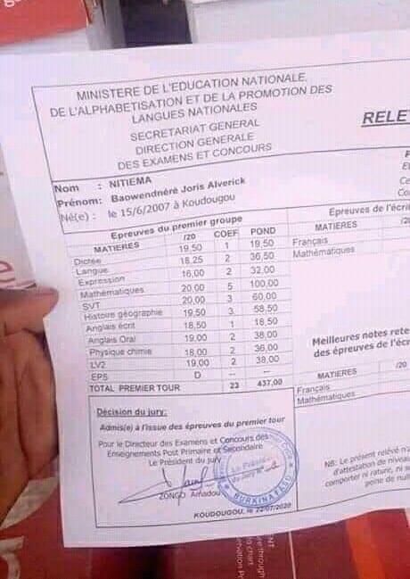 Burkina/BEPC 2020 : A 13 ans, il réussit avec 19,00 de moyenne