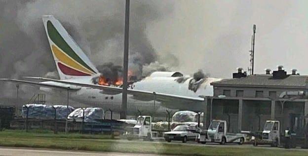 Shanghai : Un Boeing Cargo d'Ethiopian  Airlines a pris feu