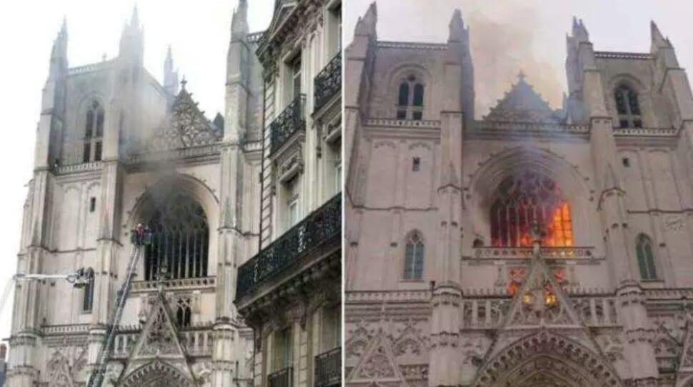 France : la cathédrale de Nantes en feu