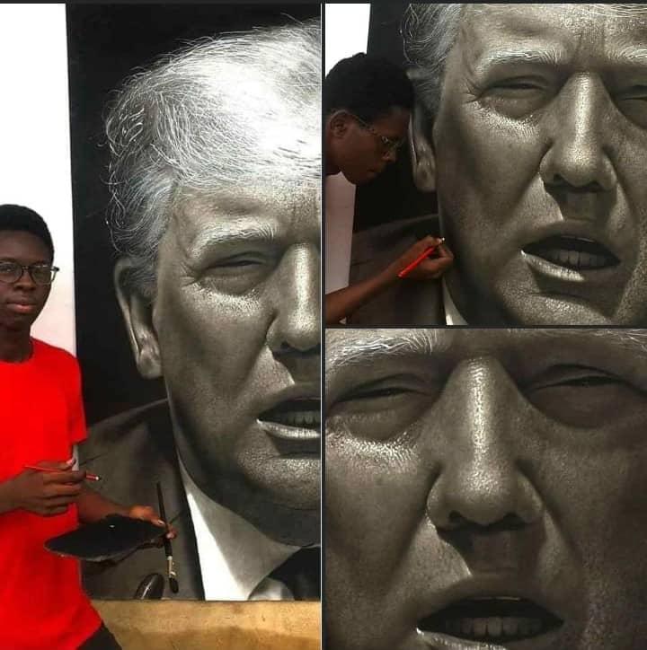 A 17 ans, ce jeune nigérian réalise un magnifique portrait de Donald Trump
