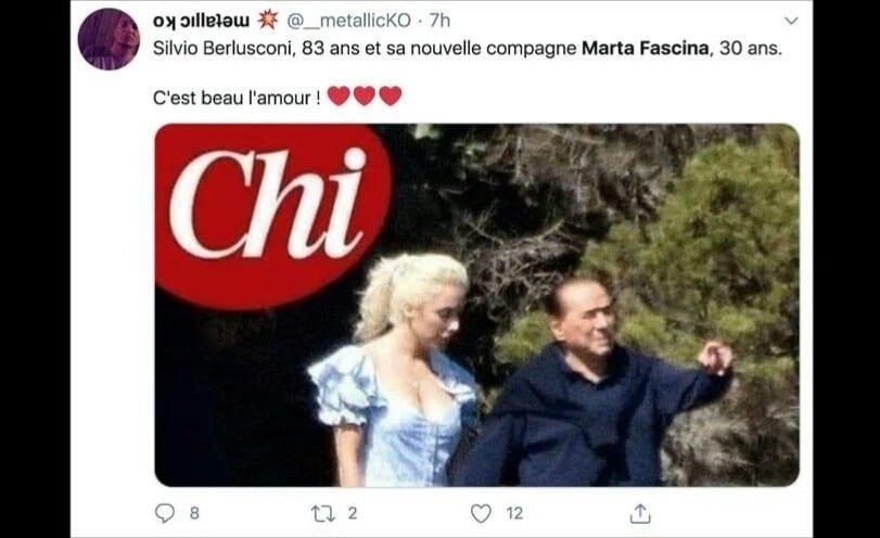 A 83 ans, Silvio Berlusconi dans les bras d'une jeune femme