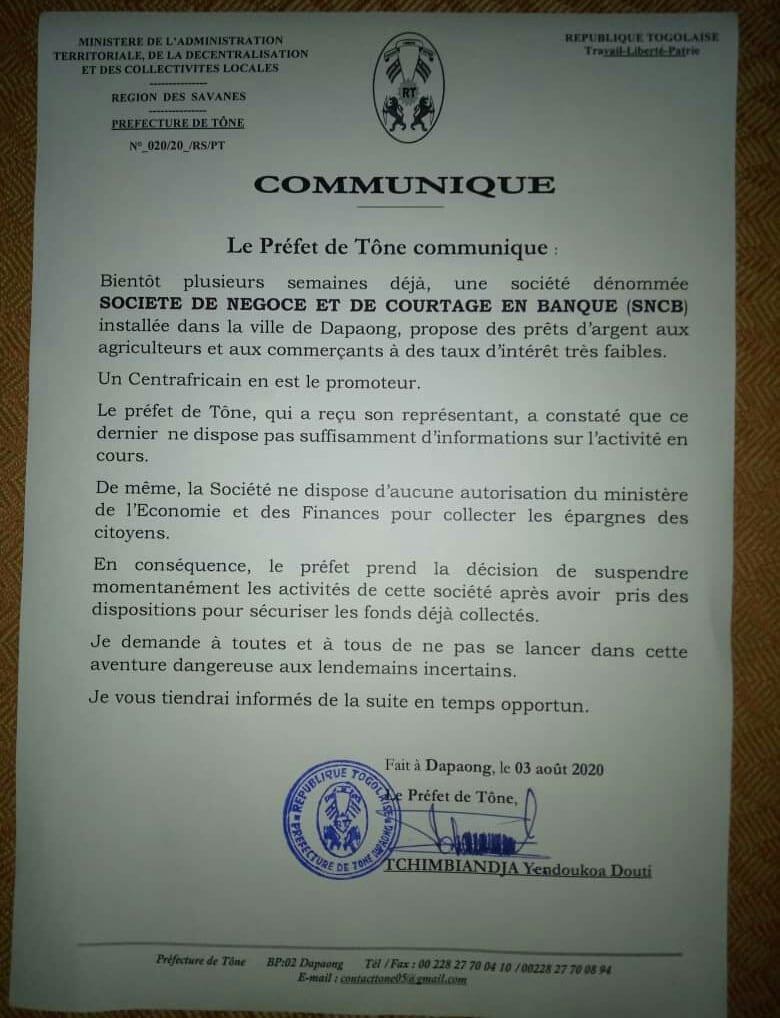 Togo/Alerte : Un préfet met fin aux activités d'une entreprise collectant l'argent des citoyens