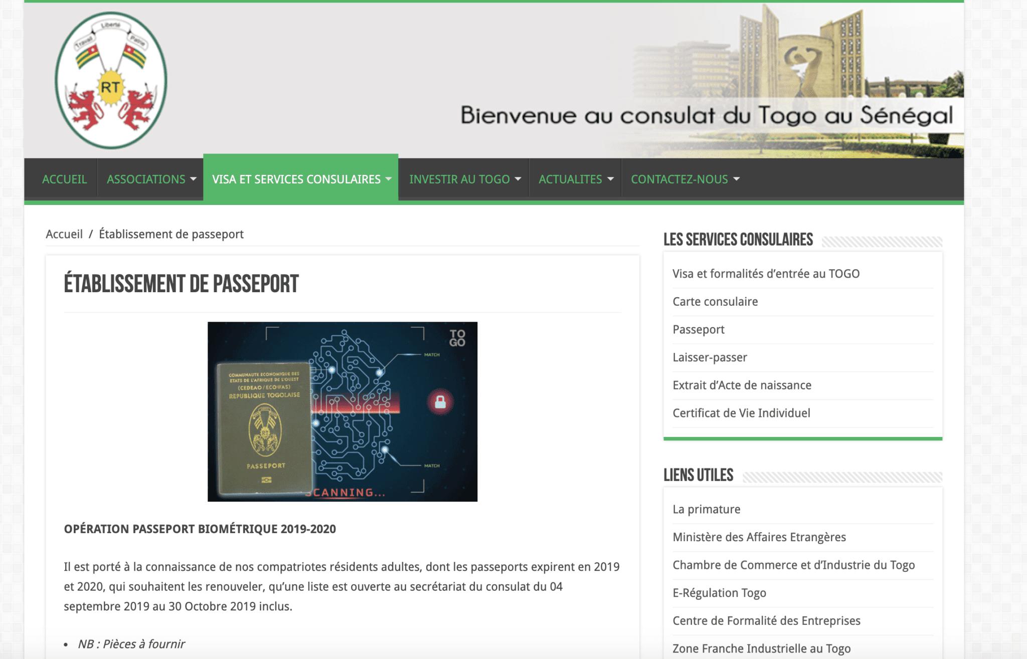 OPÉRATION PASSEPORT BIOMÉTRIQUE 2019-2020 CONSULAT TOGO AU SENEGAL