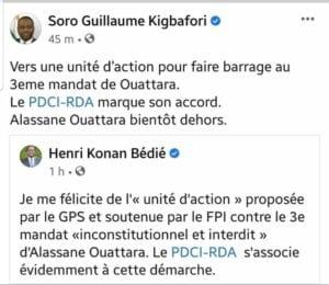 Côte d'Ivoire/ Unité d'action : Guillaume Soro a le soutien d'Henri Konan Bédié