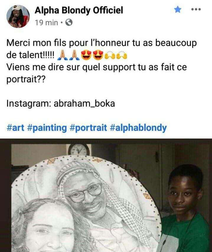 Un portrait d'Alpha Blondy fait par son fils crée le buzz