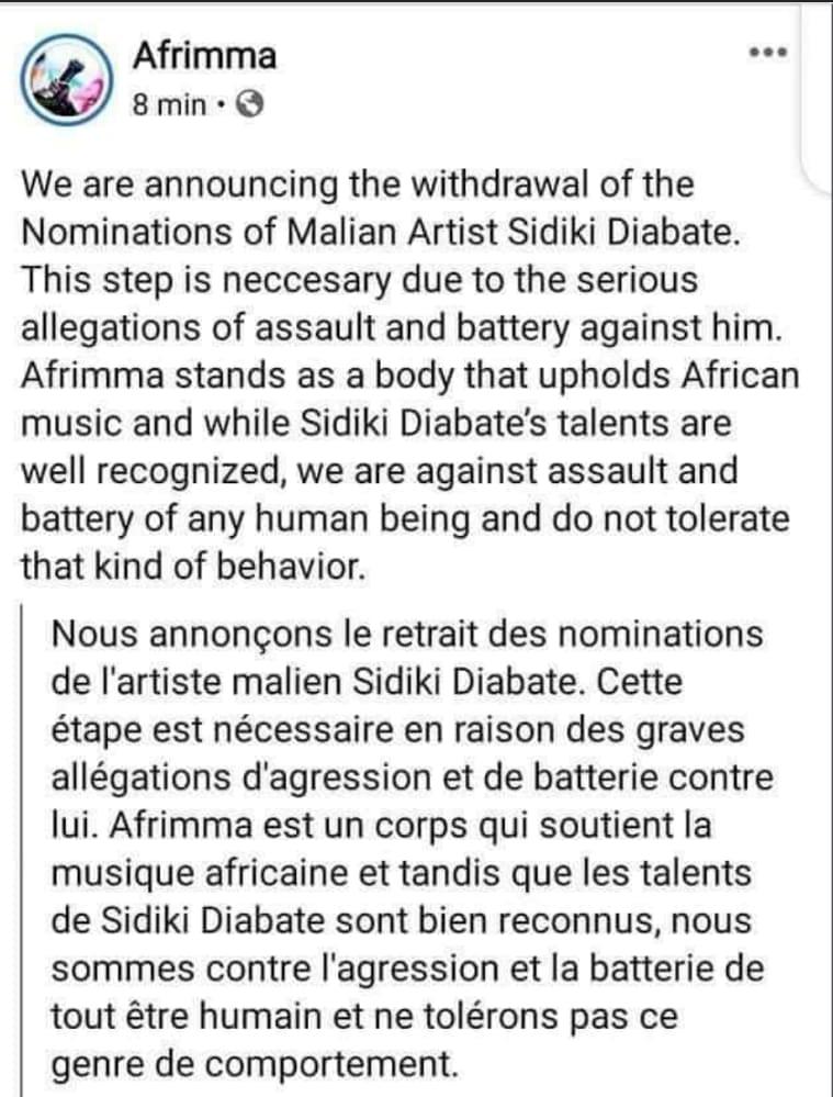Accusé de violences, Sidiki Diabaté est retiré des Afrimma Awards 2020