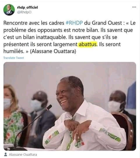 RHDP: Cette grosse faute détectée dans un de ses tweets