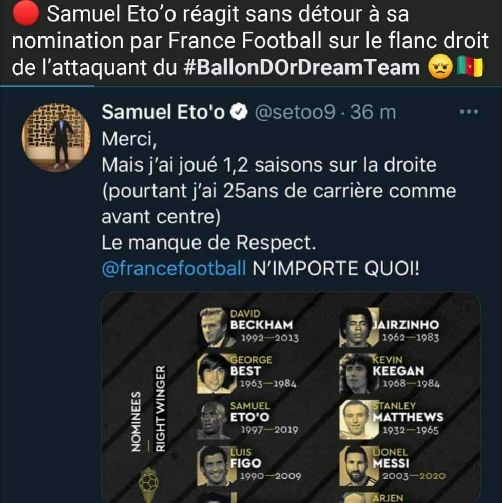 Samuel Eto'O Tacle Violemment France Football