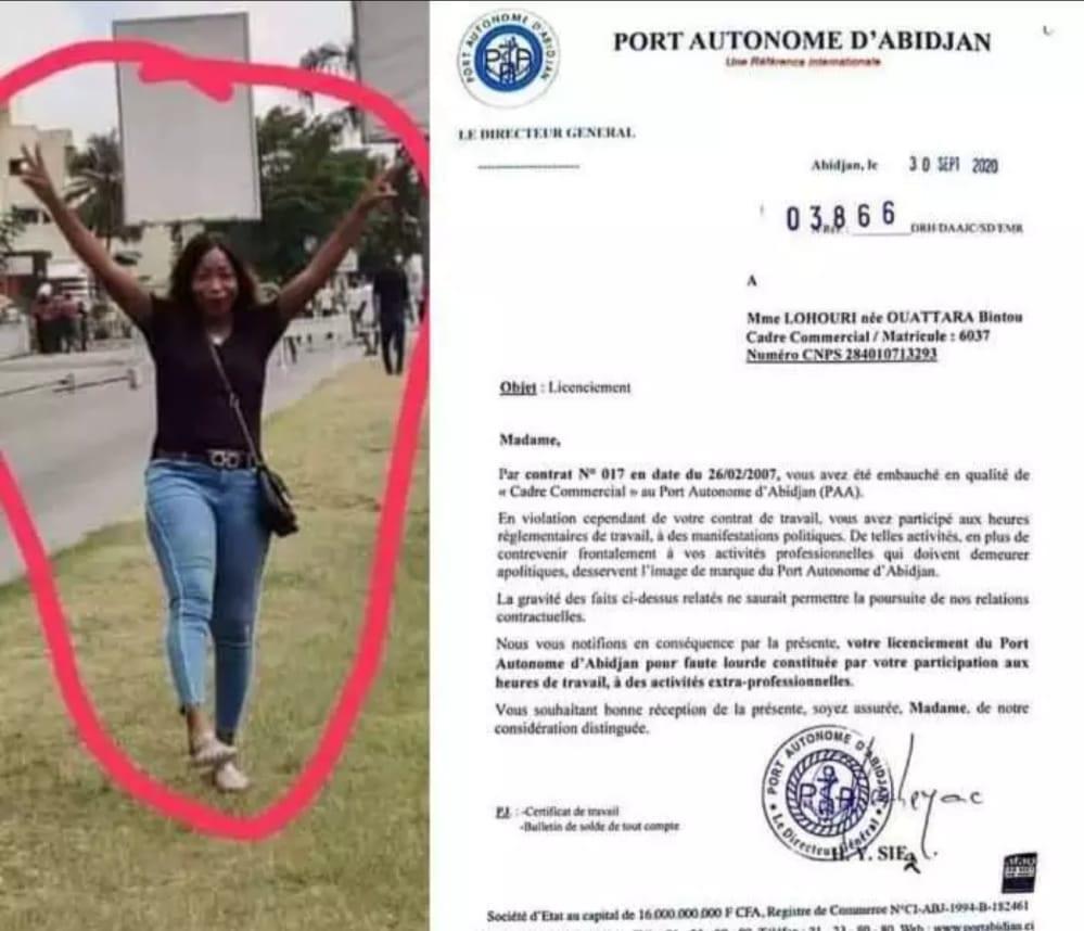 Elle est licenciée pour avoir participé à une marche de l'opposition