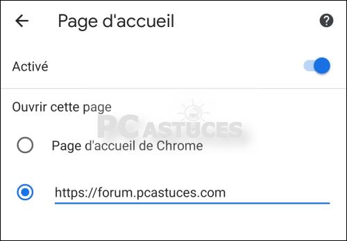 Changer la page de démarrage dans Google Chrome – Android
