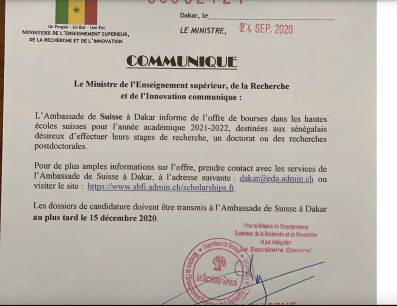 L'Ambassade de Suisse à Dakar offre plusieurs bourses d'étude aux étudiants sénégalais pour 2020/2021