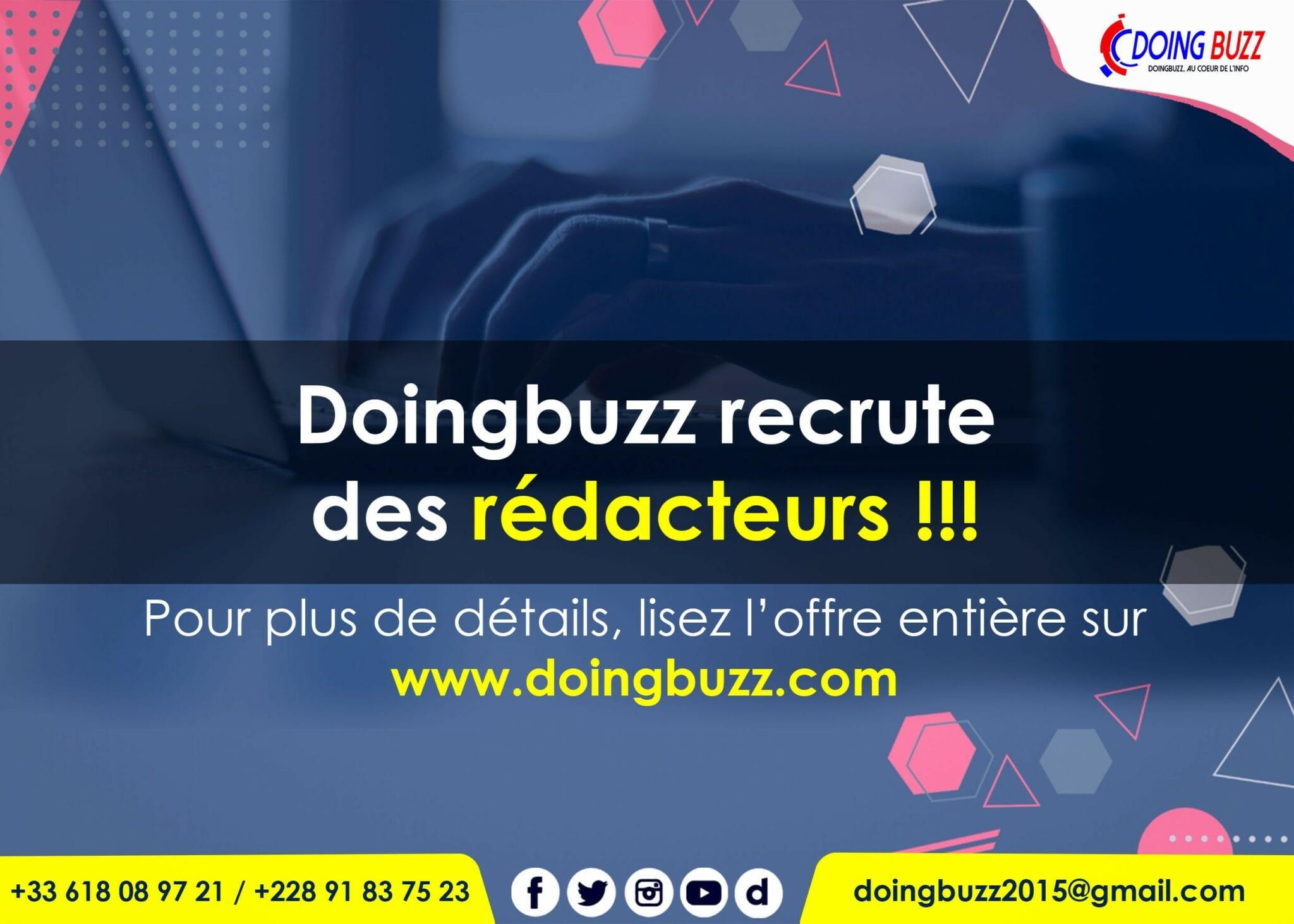 Emploi: Doingbuzz recrute plusieurs rédacteurs expérimentés