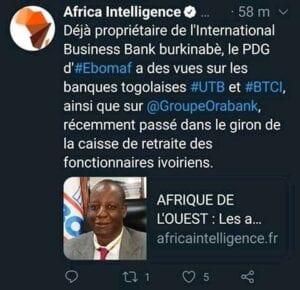 Togo :LePDG d'Ebomaf vu comme le prochain acquéreur de l'UTBet laBTCI