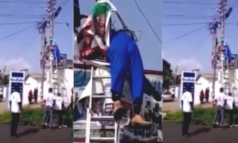 Il meurt en fixant le drapeau de son parti politique sur un poteau électrique