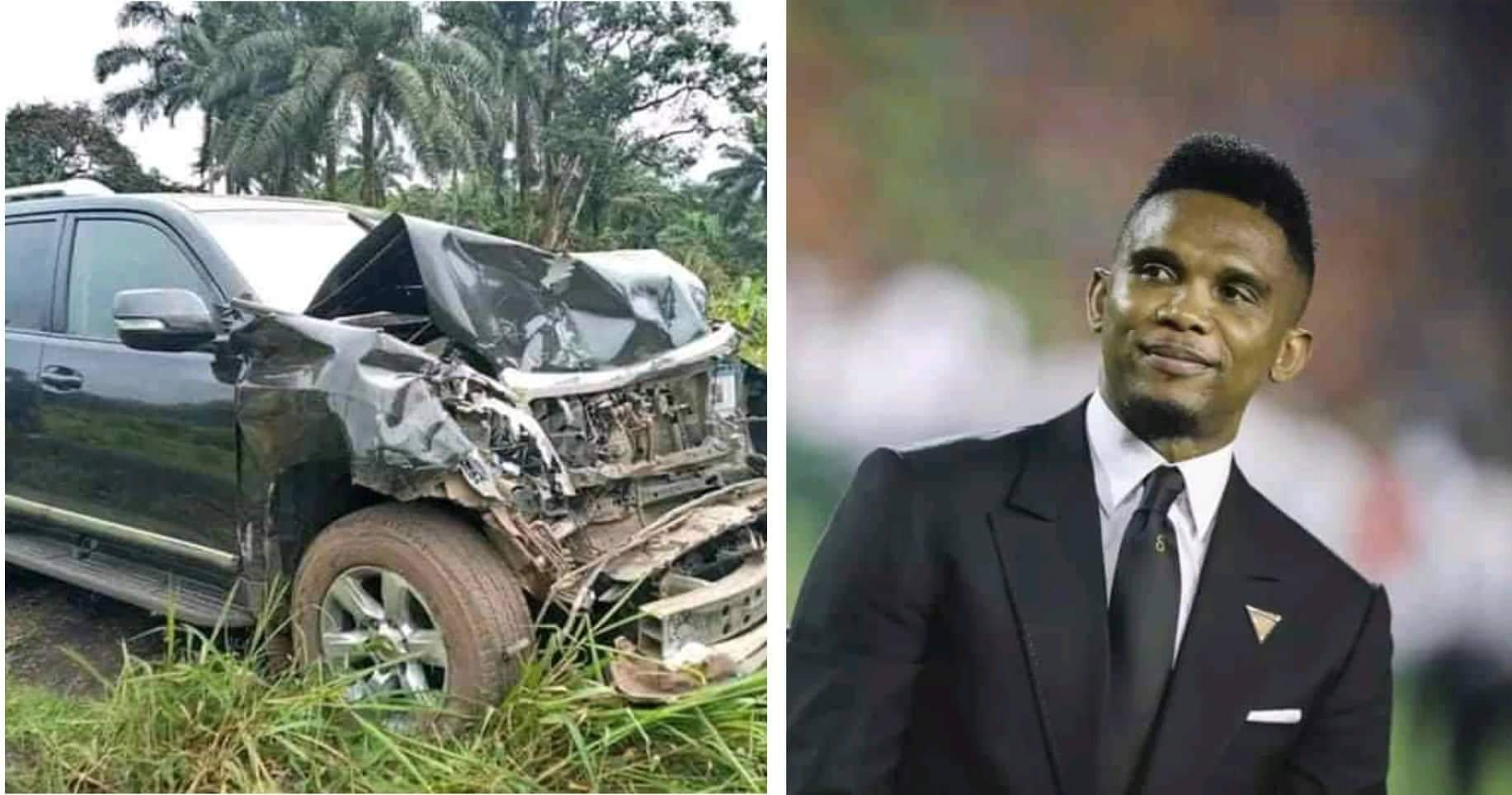 Samuel Eto'o victime d'un grave accident de la route(Photos)