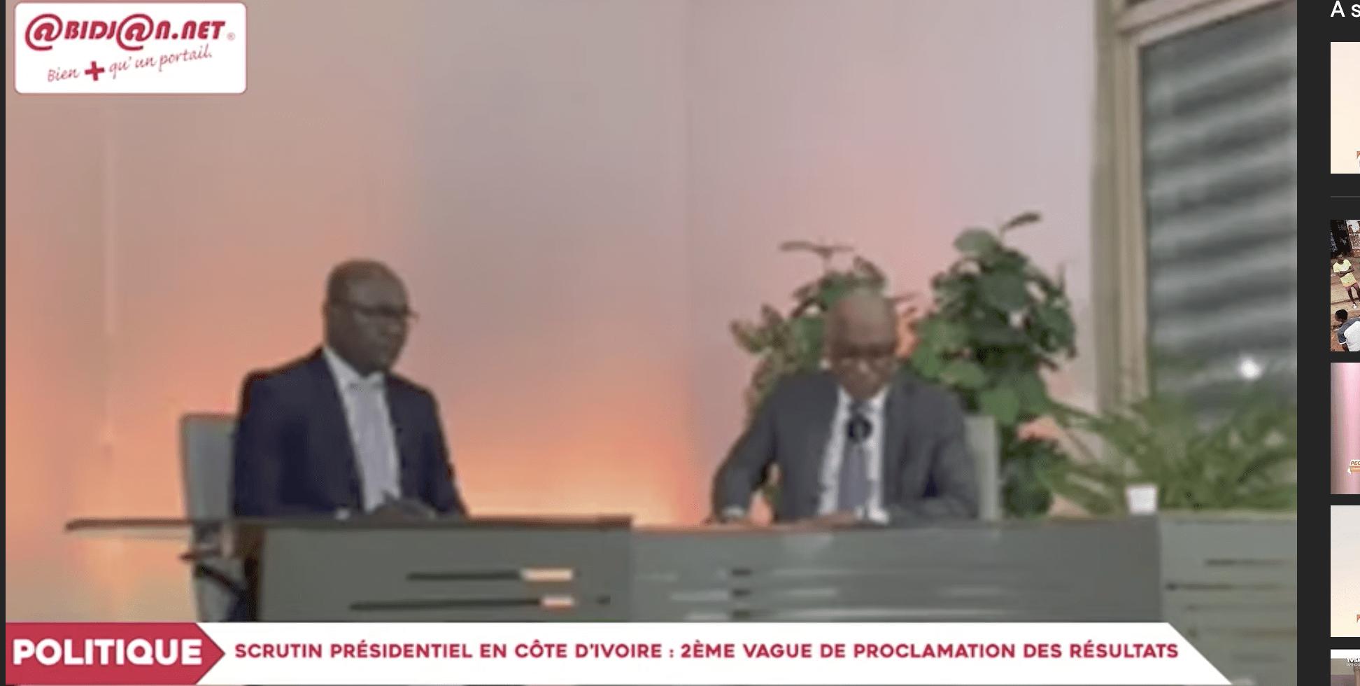 Scrutin présidentiel en Côte d'Ivoire : 2ème vague de Proclamation des résultats (video)