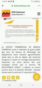 La Société Commerciale de Banque(SCB) recrute