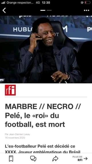 RFI annonce la mort du Roi Pélé (Photos)