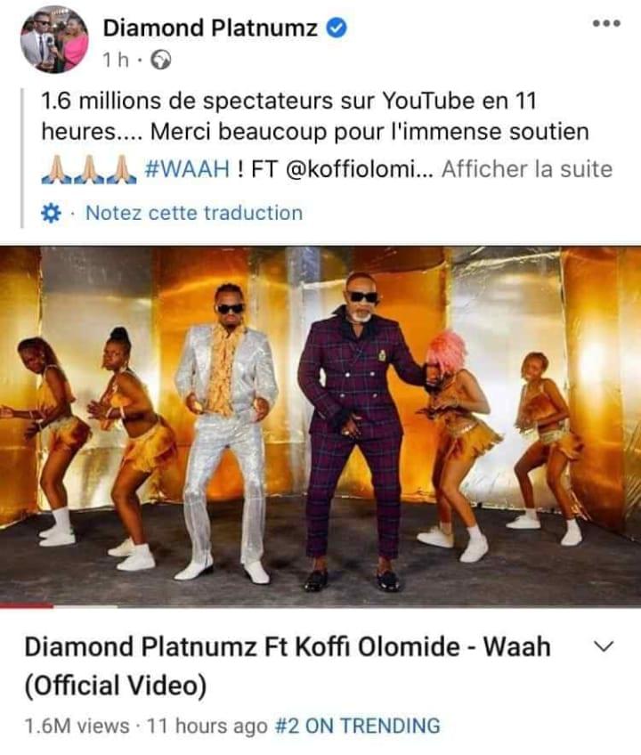 Olomidé feat Diamond : 1,6 millions de vues en moins de 12 heures