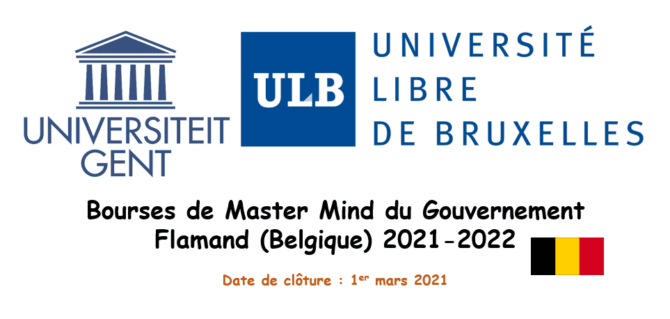 Bourses de Master Mind du Gouvernement Flamand (Belgique) 2021-2022