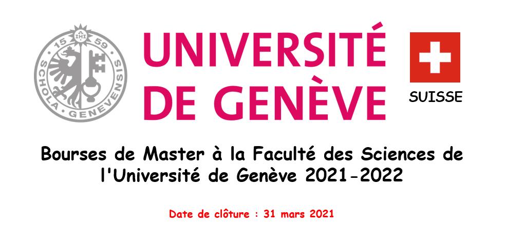 Bourses de Master à la Faculté des Sciences de l'Université de Génève 2021-2022
