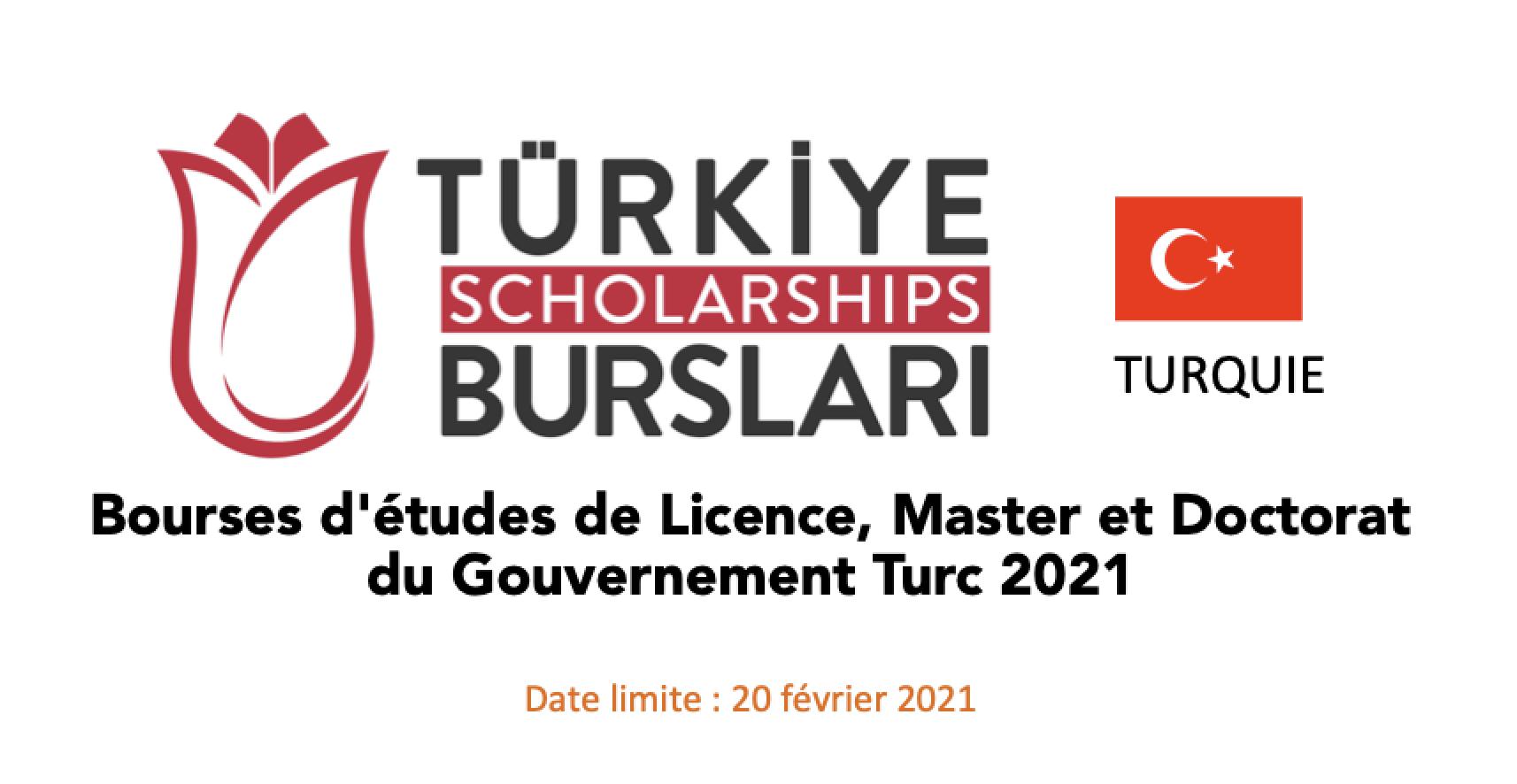 Bourses d'études de Licence, Master et Doctorat du Gouvernement Turc 2021